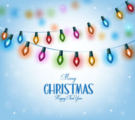 Merry Christmas Greetings in Realistic 3D Colorful Christmas Lights Hanging in Snow Background. Vector Illustration