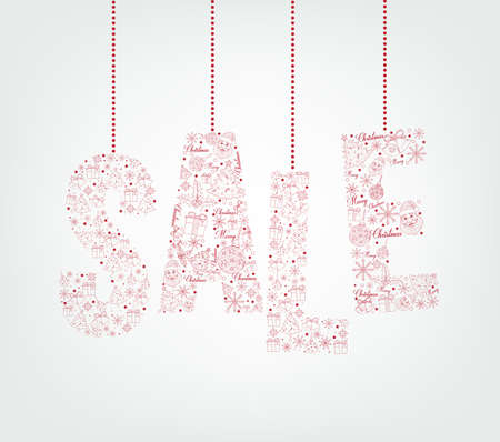 Christmas Sale Pattern Hanging in White background for Promotion and Discount. Vector Illustration Çizim