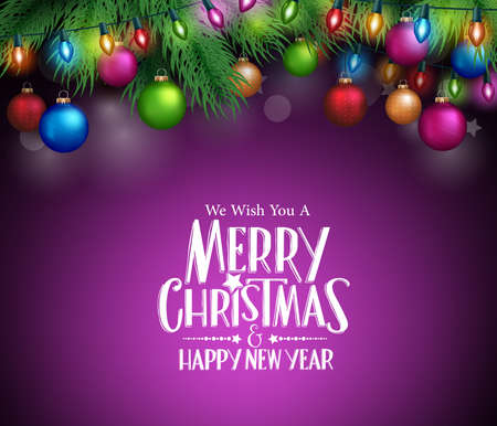 night background: Merry Christmas Greetings with Christmas Decorations and Objects in Dark Night Background. Vector Illustration