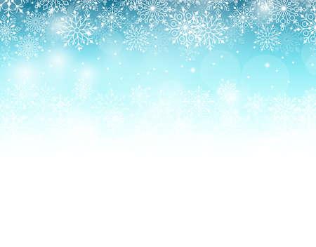 neige noel: Winter Background avec divers Cold Blue Snowflakes Pattern. Vecteur Illustration