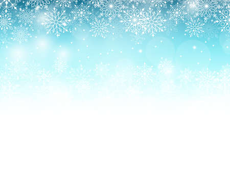 snow: Winter Background with Various Cold Blue Snowflakes Pattern. Vector Illustration Illustration