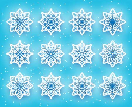 copo de nieve: Hermosos Copos de nieve fijados para la temporada de invierno en el fondo cubierto de nieve. Ilustración vectorial Vectores