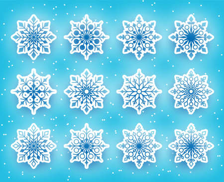 Beautiful Snowflakes Set for Winter Season in Snowy Background. Vector Illustration