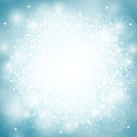 backgrounds: Winter Snow Background with Different Snowflakes. Vector Illustration Illustration