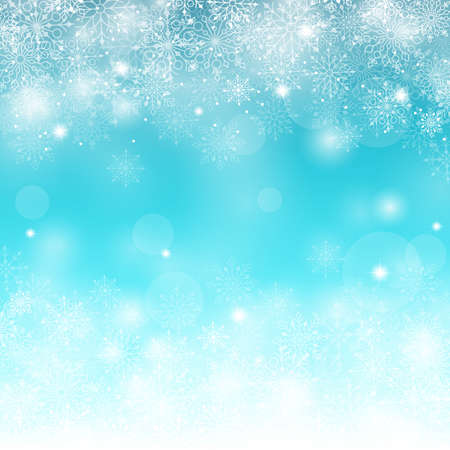 snows: Winter Snow Background with Different Snowflakes. Vector Illustration Illustration