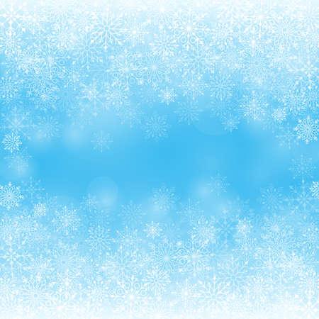 flocon de neige: Contexte neige d'hiver avec différents flocons de neige. Vecteur Illustration