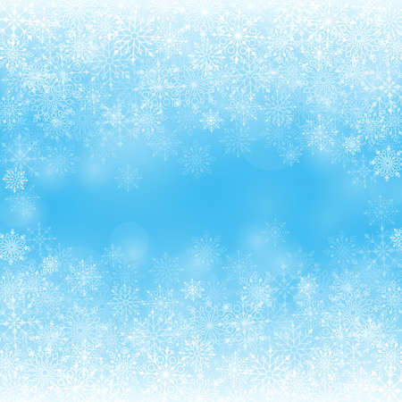 Winter Snow Background with Different Snowflakes. Vector Illustration Çizim