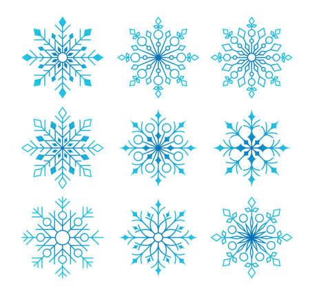 冬のシーズンの白い背景で分離された雪の結晶の美しいコレクションです。ベクトル図