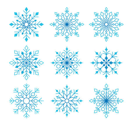 Beautiful Collection of Snow Flakes Isolated in White Background for Winter Season. Vector Illustration