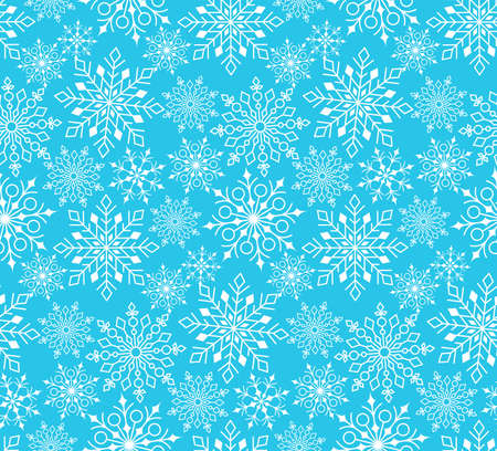 snow background: Seamless Winter Snow Flakes Background Pattern in Blue Color. Continuous Vector Illustration