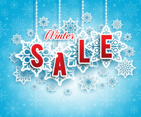 snows: Winter Sale Text Hanging with Snowflakes in Blue Snow Pattern Background. Vector Illustration