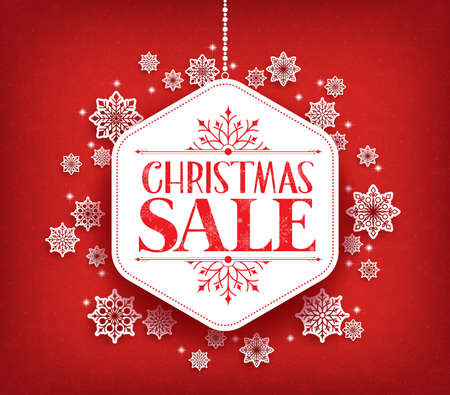 for sale: Merry Christmas Sale in Winter Snow Flakes Hanging with White Space for Text. Vector Illustration Illustration