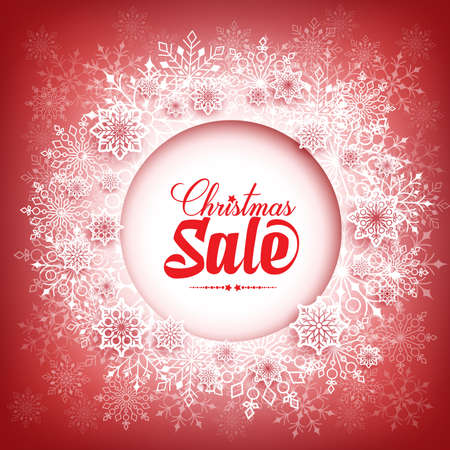 christmas sale: Merry Christmas Sale in Winter Snow Flakes Background with White Space for Text. Vector Illustration