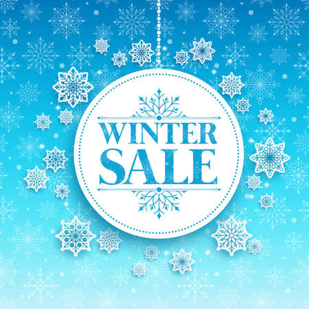 Winter Sale Text in White Space with Snow Flakes Hanging in Blue Pattern Background. Vector Illustration