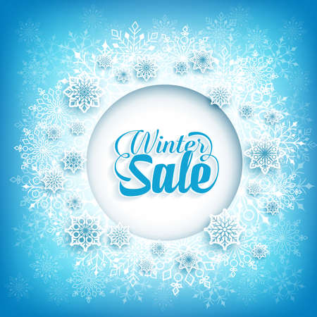 winter vector: Winter Sale Text in Circle White Space with Snow Flakes  in Blue Pattern Background. Vector Illustration