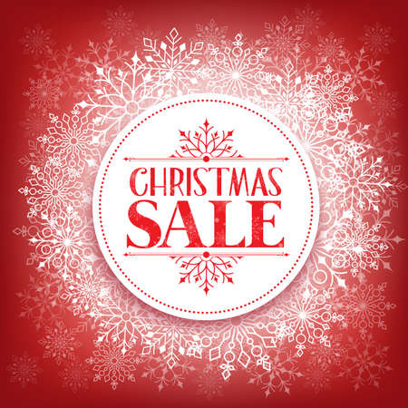 red retail: Merry Christmas Sale in Winter Snow Flakes Background with White Space for Text. Vector Illustration