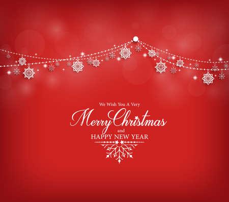 メリー クリスマスのグリーティング カードの赤い背景にぶら下がっている雪の結晶をデザイン。ベクトル図
