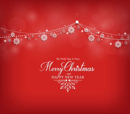 Merry Christmas Greetings Card Design with Snow Flakes Hanging in Red Background. Vector Illustration