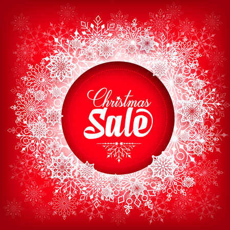 merry xmas: Christmas Sale Text in Circle of Snow Flakes with Red Background. Vector Illustration Illustration