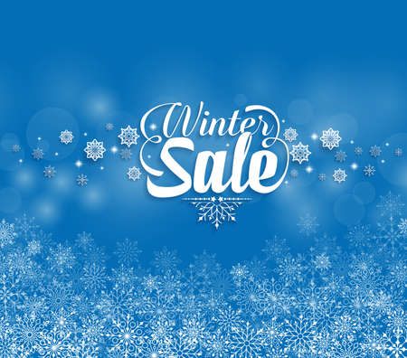 sale sign: Winter Sale Text in Snowflakes Blue Background. Vector Illustration Illustration