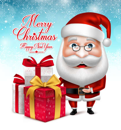claus: 3D Realistic Santa Claus Cartoon Character Holding Collections of Christmas Gifts in Snow Background. Vector Illustration
