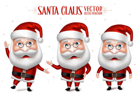 3 D リアルなサンタ クロース漫画の文字セット ホワイト バック グラウンドでクリスマス デザインに分離されて。ベクトル図
