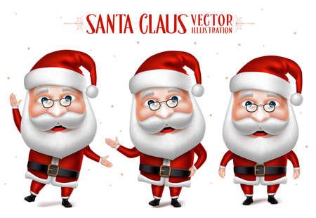 3D Realistische Kerstman stripfiguur Set voor kerst ontwerpen geïsoleerd in een witte achtergrond. Vector Illustratie
