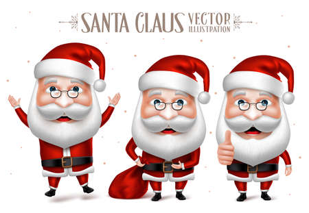 3D Realistic Set of Santa Claus Cartoon Character for Christmas Designs Isolated in White Background. Vector Illustration Vettoriali