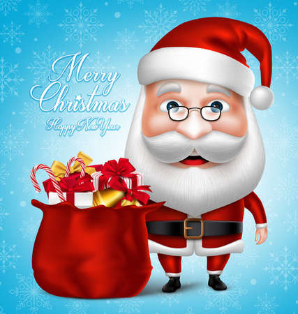 3D Realistic Santa Claus Cartoon Character Holding Bag full of Christmas Gifts and Items. Vector Illustration Illustration