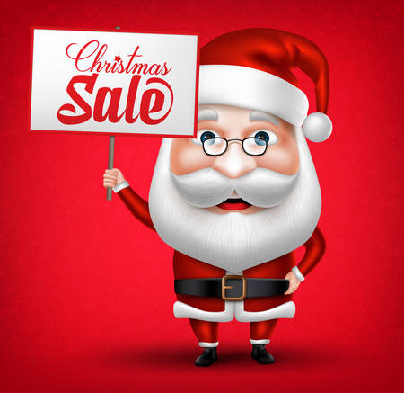 christmas time: 3D Realistic Santa Claus Cartoon Character Holding Christmas Sale Placard in Red Background. Vector Illustration