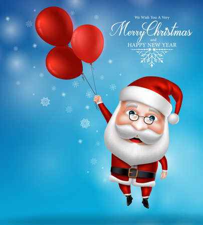 papa noel: 3D realista del personaje de Santa Claus celebración de globos volando en el aire con la nieve de fondo azul. Ilustración vectorial