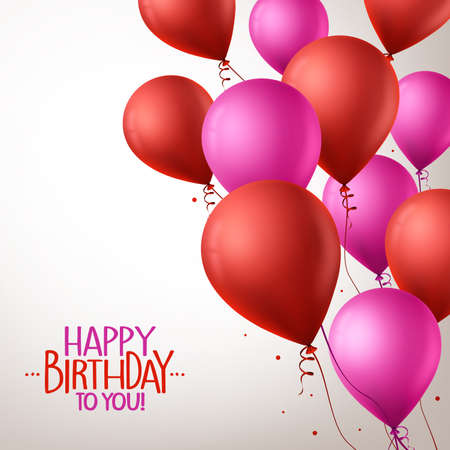 3d text: 3d Realistic Colorful Pink and Red Happy Birthday Balloons Flying for Party and Celebrations With Space for Message in Background. Vector Illustration Illustration