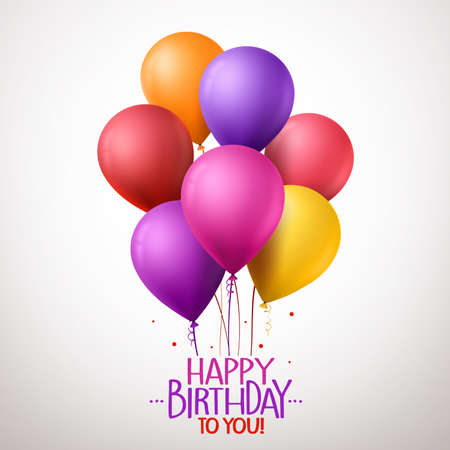globos de cumpleaños: 3d realistas coloridos cumpleaños Globos del feliz vuelo para la fiesta y celebraciones con espacio para el mensaje aislado en el fondo blanco. Ilustración vectorial Vectores