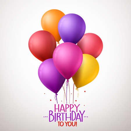 auguri di buon compleanno: 3D realistica colorati Happy Birthday Balloons volanti per il partito e celebrazioni con spazio per il messaggio isolato in sfondo bianco. illustrazione vettoriale