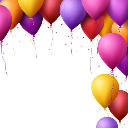 パーティーやお祝いメッセージは、白い背景で隔離のスペースに飛んで 3 d 現実的なカラフルな誕生日風船。ベクトル図