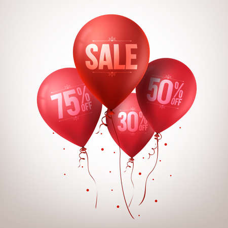 3d Realistic Colorful Red Sale Balloons Flying for Christmas Promotion Isolated in White Background. Vector Illustration Illustration