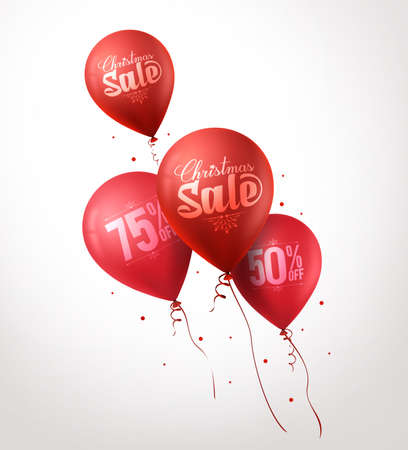 christmas promotion: 3d Realistic Colorful Red Sale Balloons Flying for Christmas Promotion Isolated in White Background. Vector Illustration Illustration
