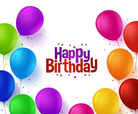 compleanno: 3d realistica colorato mazzo di Happy Birthday Balloons Sfondo per il partito e le celebrazioni con spazio per testo isolato in bianco. illustrazione vettoriale Vettoriali