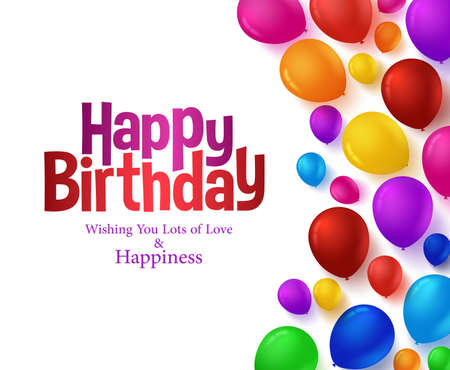 3d Realistic Colorful Bunch of Happy Birthday Balloons Background for Party and Celebrations With Space for Text Isolated in White. Vector Illustration