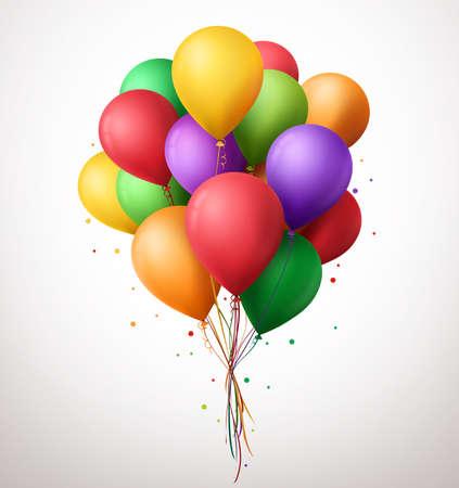 흰색 배경에 고립의 메시지에 대 한 공간을 가진 파티와 축하를위한 비행 생일 풍선의 3d 현실적인 다채로운 무리입니다. 벡터 일러스트 레이 션