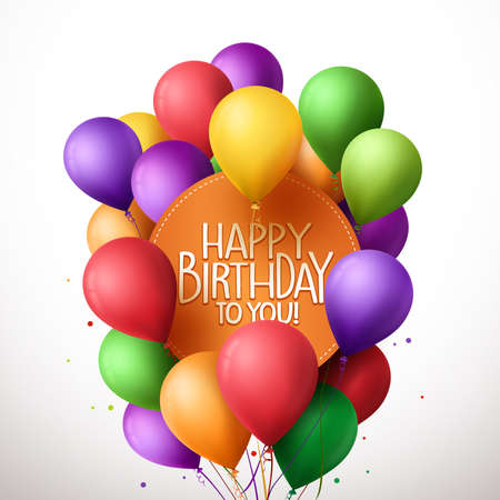 3d Realistic Colorful Bunch of Happy Birthday Balloons Flying for Party and Celebrations With Text in Circle Isolated in White Background. Vector Illustration