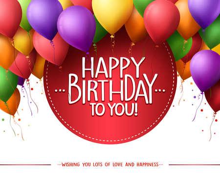 globos de cumpleaños: 3d Manojo colorido realista del feliz cumpleaños hincha vuelo por un partido y celebraciones con el texto en el círculo aislado en el fondo blanco. Ilustración del vector