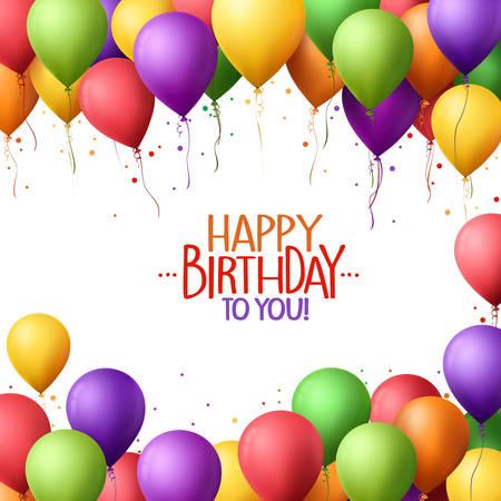 3d Realistische Kleurrijke Bos van Happy birthday ballonnen vliegen voor Partij en vieringen met ruimte voor tekst geïsoleerd in witte achtergrond. vector Illustration Stock Illustratie
