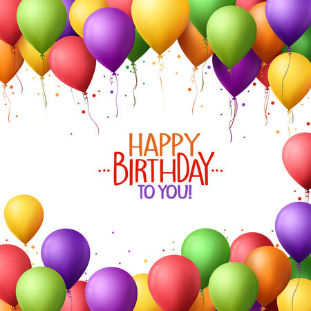 3d Realistic Colorful Bunch of Happy Birthday Balloons Flying for Party and Celebrations With Space for Text Isolated in White Background. Vector Illustration