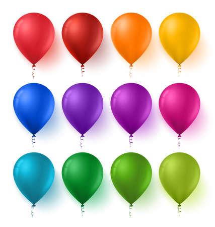 collection: 3D realistas conjunto de colores de los globos del cumpleaños con colores brillantes y brillante aislado en el fondo blanco. Ilustración del vector