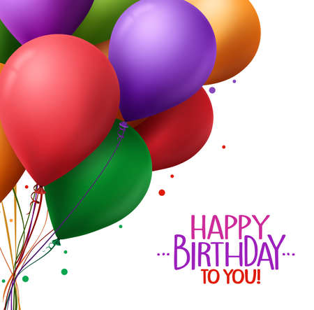 felicitaciones cumpleaÑos: 3d Manojo colorido realista de los saludos de feliz cumpleaños con globos de vectores de fondo para la fiesta y celebraciones aisladas en blanco. Ilustración del vector Vectores