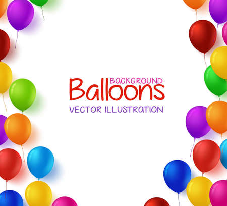 3d Realistic Colorful Bunch of Happy Birthday Balloons Vector Background for Party and Celebrations With Space for Text Isolated in White. Vector Illustration