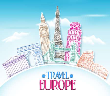 カラフルなヨーロッパ ・手の図面用紙で青い背景の有名なランドマークと場所のカット旅行.ベクトル図
