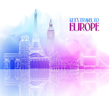 Travel Europe Hand Drawing with Famous Landmarks and Places in Colorful Watercolor Background with Reflection. Vector Illustration