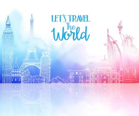 Resa världen Hand ritning med berömda landmärken och platser i färgglada Akvarell Bakgrund med reflexion. Vector Illustration